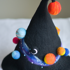 Handmade felted needle felted galaxy witch wool Hat Halloween costume witch costume