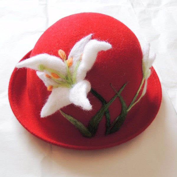Handmade felted needle felted lily red wool Hat beret winter hat