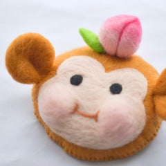 Handmade felted needle felted little monkey wool hat hair clip hair accessories