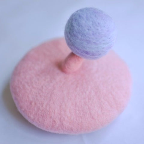 Handmade felted needle felted pink small planet wool hat hair clip hair accessories