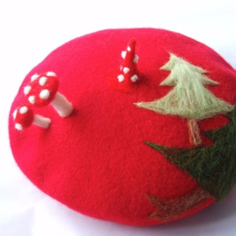 Handmade felted needle felted Christmas red Christmas tree wool Hat beret winter hat