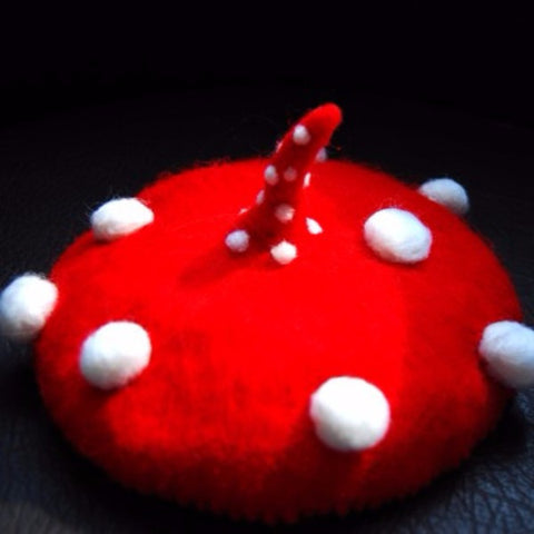 Handmade felted needle felted red mushroom wool hat hair clip hair accessories