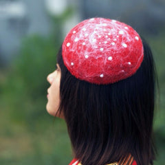 Handmade felted needle felted red tiny mushroom wool hat hair clip hair accessories