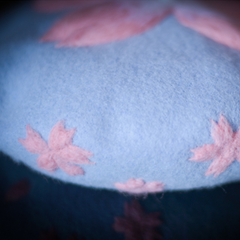 Handmade felted needle felted sakura blue wool Hat beret winter hat