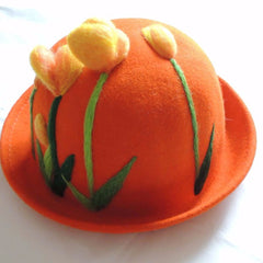 Handmade felted needle felted tulips orange wool Hat beret winter hat