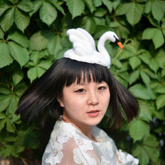 Handmade felted needle felted white swan wool hat hair clip hair accessories