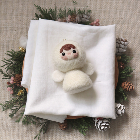 Handmade needle felted felting project cute project Christmas angle felt doll