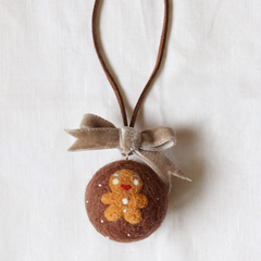 Handmade needle felted felting cute project Christmas bauble keycharm