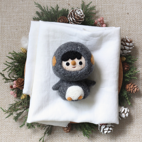Handmade needle felted felting project cute animal project penguin felt doll