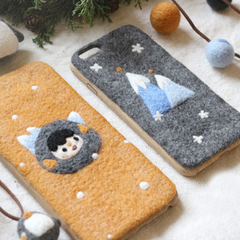Handmade needle felted felting cute project Christmas penguin iphone case