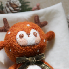 Handmade needle felted felting project cute project Christmas reindeer felt doll