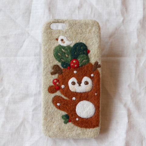 Handmade needle felted felting cute project Christmas reindeer iphone case