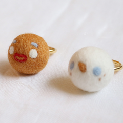 Handmade needle felted felting cute project Christmas ring gingerbread man accessories