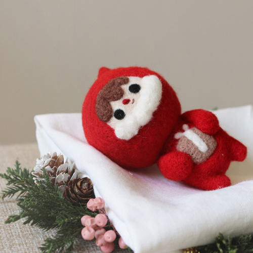 Handmade needle felted felting project cute project Christmas Santa felt doll