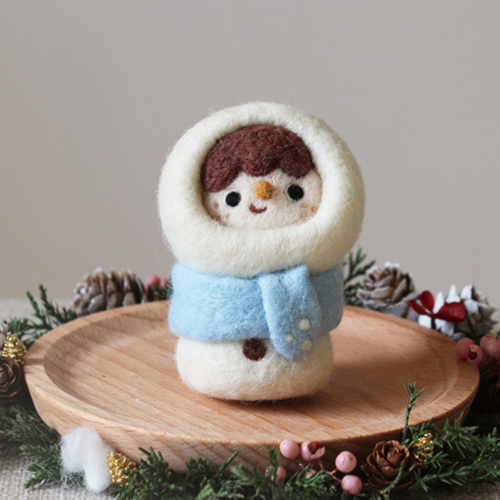 Handmade needle felted felting project cute project Christmas Snowman felt doll