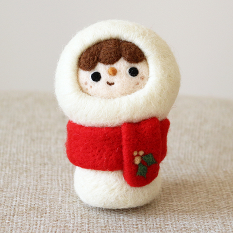 \Handmade needle felted felting project cute project Christmas Snowman felt doll