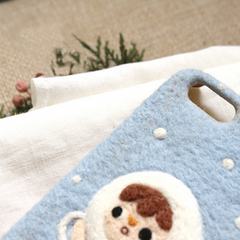 Handmade needle felted felting cute project Christmas angle iphone case