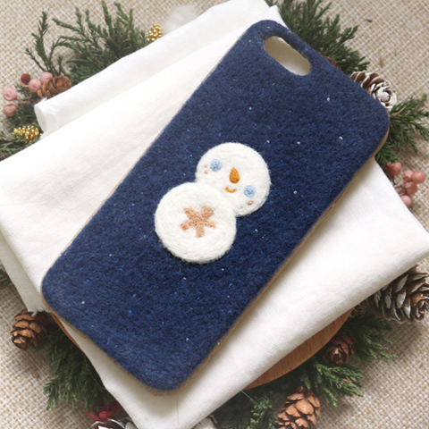 Handmade needle felted felting cute project Christmas snowman iphone case