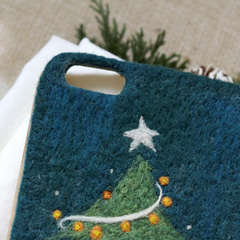 Handmade needle felted felting cute project Christmas tree iphone case
