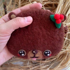 Handmade needle felted felting cute animal project bear coin wallet