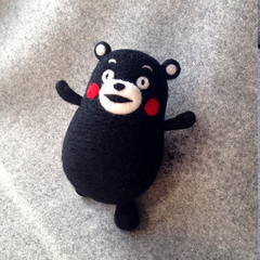Handmade needle felted felting cute animal project bear Kumamon felt doll