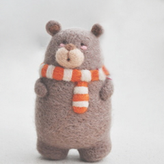 Handmade needle felted felting cute animal project bear with scarf felt doll