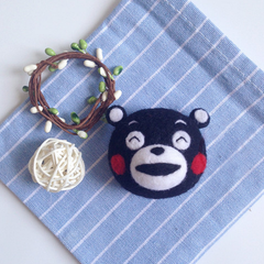 Handmade needle felted felting cute animal project bear Kumamon keychain keycharms