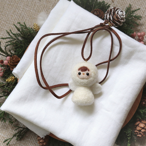 Handmade needle felted felting cute animal project Christmas angle necklace accessories
