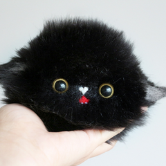 Handmade needle felted felting cute animal project black cat kitten head doll toy