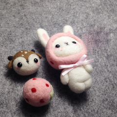 Handmade needle felted felting cute animal project bunny doll accessories toy