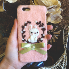 Handmade needle felted felting cute animal project bunny rabbit iphone case