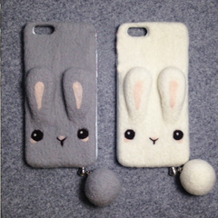 Handmade needle felted felting cute animal project bunny iphone case
