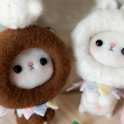 Handmade needle felted felting cute animal project bunny bear toys