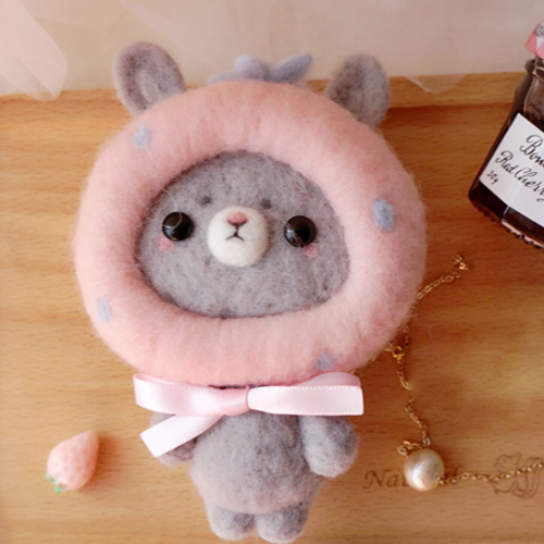 Handmade needle felted felting cute animal project gray bunny toys