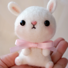 Handmade needle felted felting cute animal project bunny rabbit doll