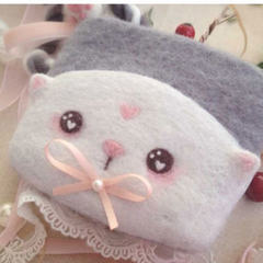 Handmade needle felted felting cute animal project cat coin wallet
