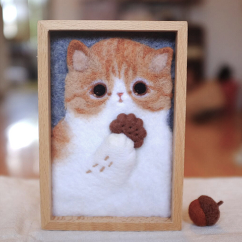Handmade needle felted felting cute project customize pet portraiture