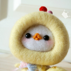 Handmade needle felted felting project cute animal project chicken felt doll