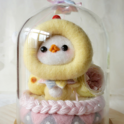 Handmade needle felted felting cute animal project chicken lion gift box