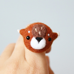 Handmade needle felted felting cute animal project deer ring accessories