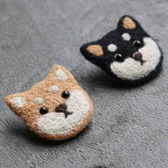 Handmade needle felted felting cute project dog brooches accessories
