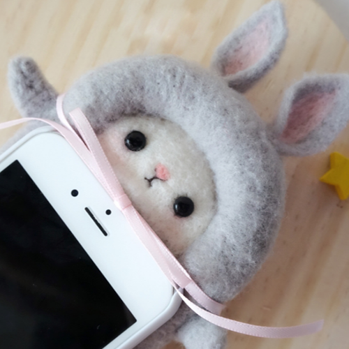 Handmade needle felted felting cute animal project donkey iphone case
