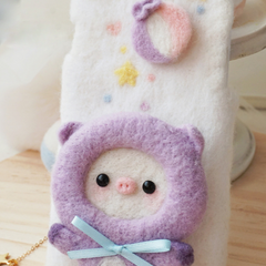 Handmade needle felted felting cute animal project donkey pig iphone case