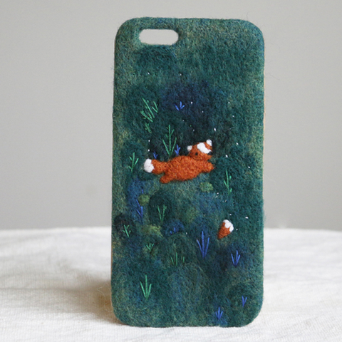 Handmade needle felted felting cute project fox fairytale iphone case