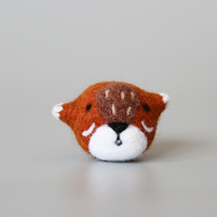 Handmade needle felted felting cute animal project fox necklace accessories