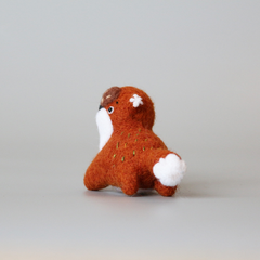 Handmade needle felted felting project cute animal project running fox felt doll