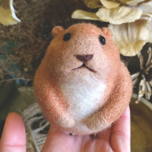 Handmade Needle felted felting animal project cute hamster felted wool doll