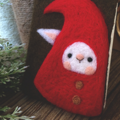 Handmade needle felted felting cute animal project Christmas elf iphone case