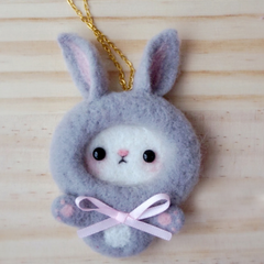 Handmade needle felted felting cute animal project donkey pig brooth necklace