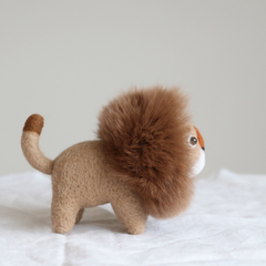 Handmade needle felted felting cute animal project lion leo doll toy